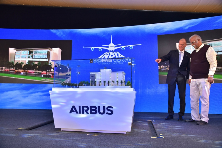 P. Ashok Gajapathi Raju, Union Minister of Civil Aviation and Tom Enders, CEO, Airbus unveiling the Airbus India Training Centre model