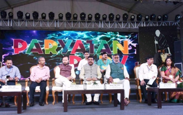 Prakash Javadekar and Dharmendra Pradhan at the inauguration of the Paryatan Parv-2019, in New Delhi on October 02, 2019. Prahlad Singh Patel and the Secretary, Ministry of Information & Broadcasting, Amit Khare are also seen.