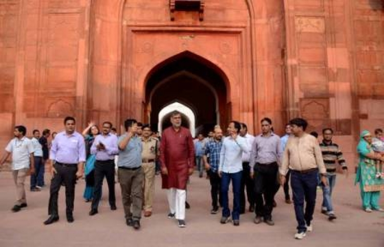 Patel reviews the progress of ongoing work at the Red Fort