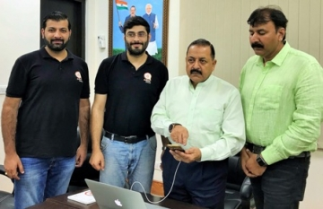 "Jitendra Singh launching the Northeast Tourism app developed by a young ""Start-Up"" group"