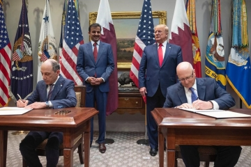 Signing ceremony held at the White House and witnessed by His Highness Sheikh Tamim Bin Hamad Al-Thani, Amir of the State of Qatar and US President Donald Trump