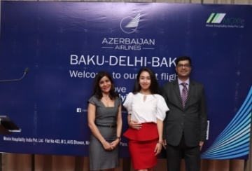 L –R: Geetanjali Alamshah, Farida Gasimova, Representative of Azerbaijan Airlines and Amit Nagrath, Head -Sales and Operations Moxie Hospitality India in Delhi.